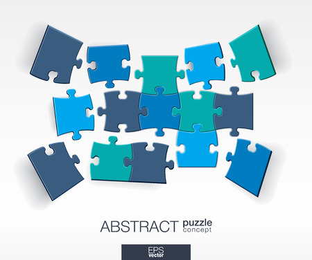Abstract background with connected color puzzles integrated elements. 3d infographic concept with mosaic pieces in perspective. Vector interactive illustration.