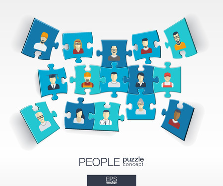society: Abstract social background with connected color puzzles integrated flat icons. 3d infographic concept with people technology network and media pieces in perspective. Vector interactive illustration
