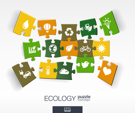 Abstract ecology background with connected color puzzles integrated flat icons. 3d infographic concept with eco earth green recycling nature sun car pieces in perspective. Vector illustration.