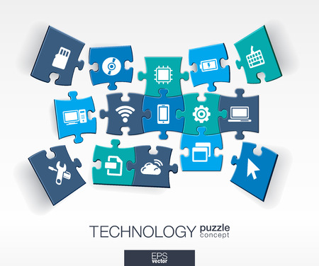 Abstract technology background connected color puzzles integrated flat icons. 3d infographic concept with technology cloud computing digital pieces in perspective. Vector interactive illustration Vectores