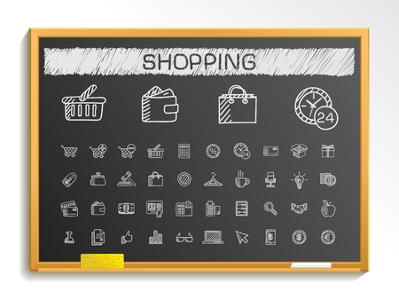 service card: Shopping hand drawing line icons. Vector doodle pictogram set: chalk sketch sign illustration on blackboard with hatch symbols: credit purchase service card calculator internet bank terminal Illustration