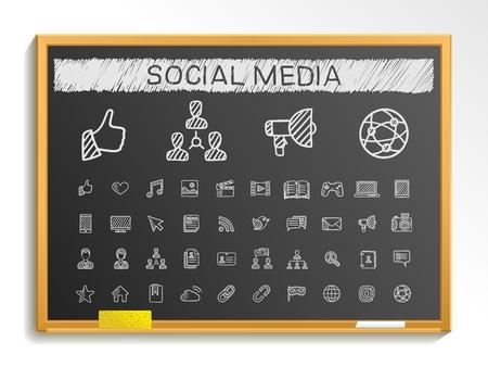 Iconos de línea de dibujo a mano los medios sociales. Vector pictograma Doodle conjunto: tiza ilustración boceto signo en la pizarra con símbolos de sombreado: post como foro de blogs cuota perfil en línea relación. Ilustración de vector