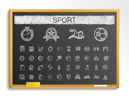 hatch: Sport hand drawing line icons. Vector doodle pictogram set: chalk sketch sign illustration on blackboard with hatch symbols: baseball football tennis bicycle pool soccer rugby fitness.
