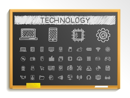 Technology hand drawing line icons. Vector doodle pictogram set: chalk sketch sign illustration on blackboard with hatch symbols: network digital internet computer laptop social media cloud Illustration