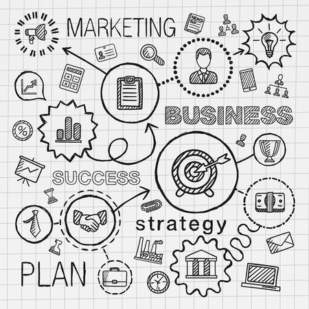 dibujo: Negocios conectado iconos drenaje de la mano. Vector boceto infografía ilustración del doodle integrado para análisis de investigación de servicios de marketing estrategia digital de conceptos interactivos. Pictogramas Hatch establecen.