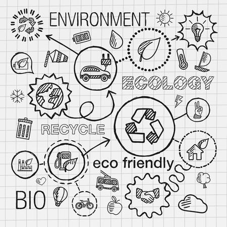 reciclar: Ecología iconos drenaje de la mano infografía. Vector el bosquejo integrado ilustración del doodle de eco amigable bio planeta coche de reciclaje de energía verde conceptos ambientales. Hatch conectado pictogramas establecidos.