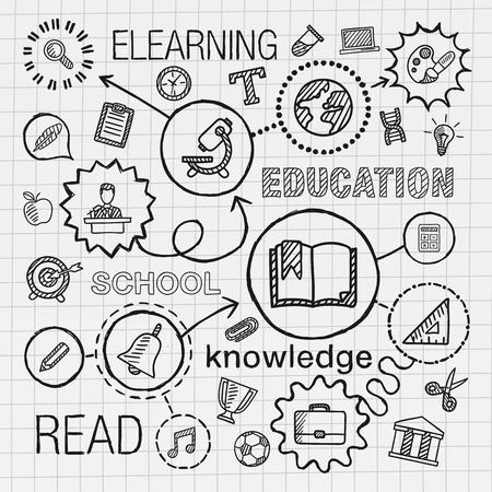 교육: 교육 손을 설정 통합 아이콘을 그립니다. elearn 네트워크 학교 대학 정보 지식의 개념 : 종이에 선 연결 낙서 해치 무늬 벡터 스케치 인포 그래픽 그림