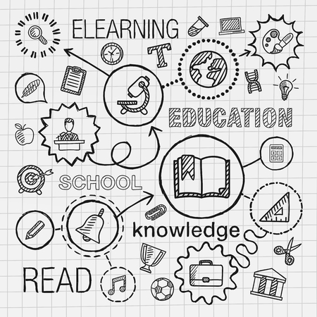 education: Éducation main dessiner icônes intégrées fixés. Vecteur croquis, illustrations infographiques avec ligne connectée pictogrammes doodle de hachures sur papier: concepts de connaissance de l'information de l'université de l'école de réseau elearn