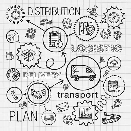 運輸: 物流手繪設置集成的圖標。矢量素描信息圖表插圖在紙上連接線塗鴉艙口象形圖:分佈海運運輸服務容器概念