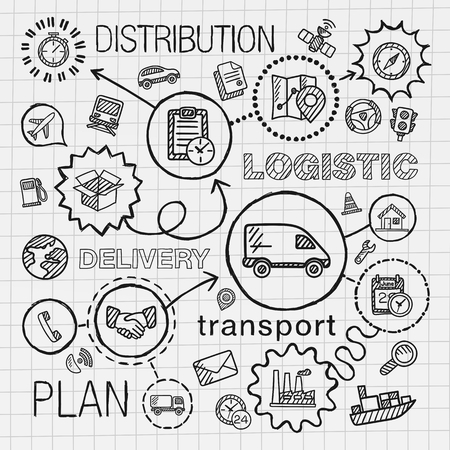 Delivery: Logistic hand draw integrated icons set. Vector sketch infographic illustration with line connected doodle hatch pictograms on paper: distribution shipping transport services container concepts Illustration