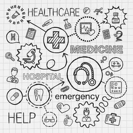 Medizinische Hand zeichnen integrierten Symbole gesetzt. Vektor Skizze Infografik Abbildung mit Leitung doodle Luke Piktogramme auf Papier: Gesundheits Arzt Medizin Wissenschaft Notfallapotheke Konzepte