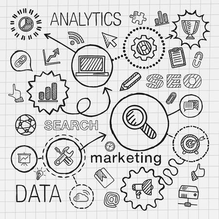 redes de mercadeo: Mano SEO dibujar iconos integrados establecidos. Vector ilustración boceto infografía con la línea conectada pictogramas escotilla del doodle en el papel: análisis de la red de comercialización conceptos de servicios de tecnología de optimizar