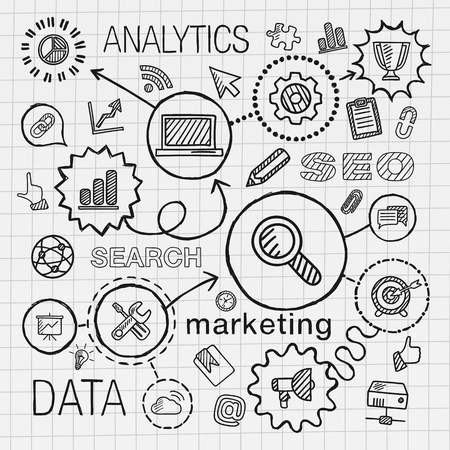 SEO hand draw integrated icons set. Vector sketch infographic illustration with line connected doodle hatch pictograms on paper: marketing network analytics technology optimize services concepts