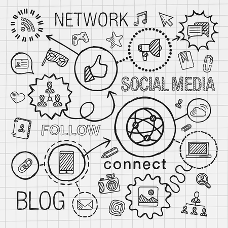 Social media hand draw integrated icons set. Vector sketch infographic illustration. Line connected doodle hatch pictograms on paper: marketing network share technology community profile concepts 일러스트