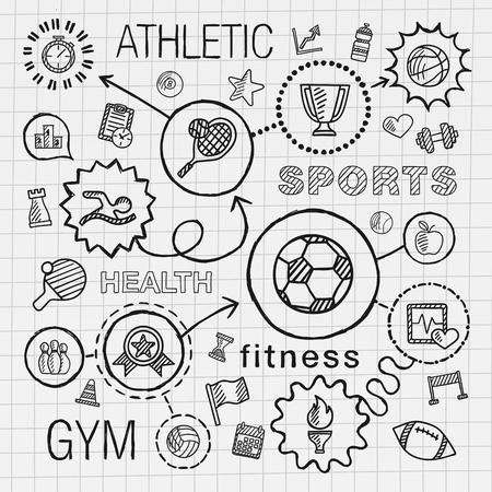 lapiz y papel: Mano Deporte dibujar iconos integrados establecidos. Vector ilustración boceto infografía con la línea conectada doodle de escotilla pictograma en el papel de la escuela: la competencia concepto de juego balón de fútbol taza del tenis signo juego Vectores