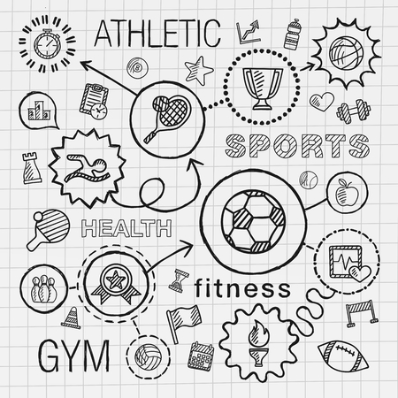 sports: Sport hand draw integrated icons set. Vector sketch infographic illustration with line connected doodle hatch pictogram on school paper: competition ball play soccer tennis cup sign game concept