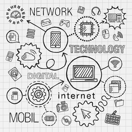 technology to communicate: Technology hand draw integrated icons set. Vector sketch infographic illustration. Line connected doodle hatch pictogram on paper: computer digital network business internet media mobile concept Illustration