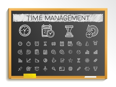 event calendar: Time management hand drawing line icons. Vector doodle pictogram set: chalk sketch sign illustration on blackboard with hatch symbols: schedule alarm event calendar graphic plan date bell.