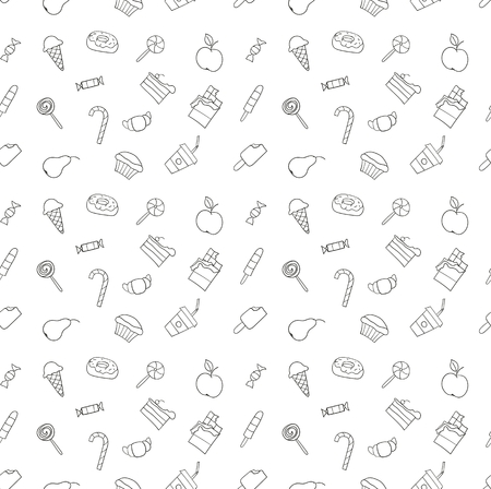 line vector: Kid hand drawing tasty food collection. Line sketch pattern of child vector doodles set: muffin cake pie donut croissant confection candy lollipop ice cream chocolate apple pear drink