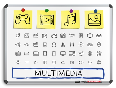 drawing board: Media hand drawing line icons. Vector doodle pictogram set: sketch sign illustration on white marker board with paper stickers: buttons camera tv laptop joystick movie device tablet
