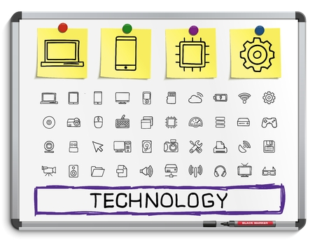 cloud technology: Technology hand drawing line icons. Vector doodle pictogram set: sketch sign illustration on white marker board with paper stickers: network digital internet computer laptop social media cloud
