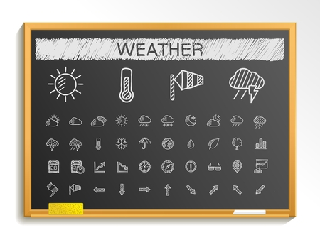 meteo: Weather hand drawing line icons. Vector doodle pictogram set: chalk sketch sign illustration on blackboard with hatch symbols: storm rain cold temperature parasol umbrella climate night.