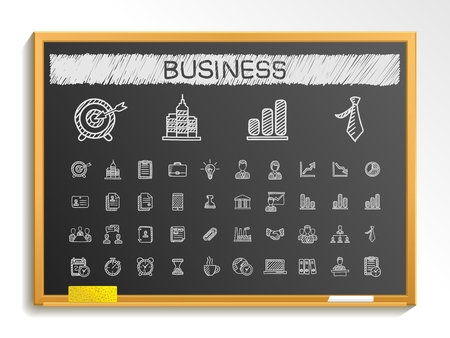 Business hand drawing line icons. Vector doodle pictogram set: chalk sketch sign illustration on blackboard with hatch symbol: finance money presentation strategy marketing analytics infographic