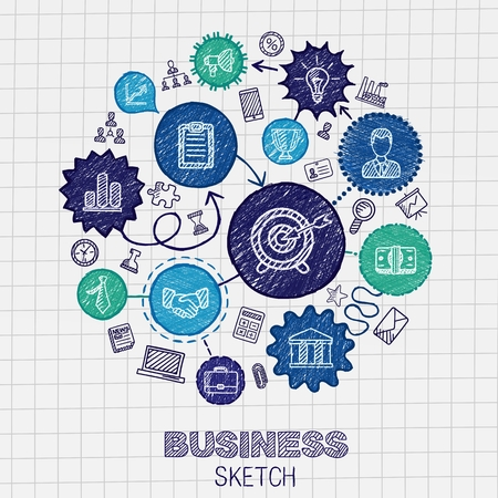 Business hand drawing integrated sketch icons. Vector doodle marketing pictogram set. Connected concept illustration on paper: finance money presentation strategy marketing analytics infographic