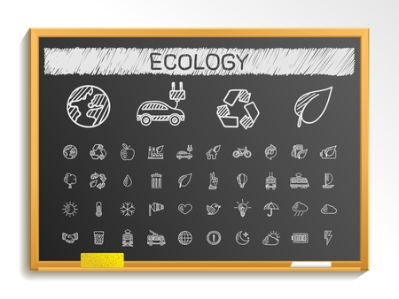 environment friendly: Ecology hand drawing line icons. Vector doodle pictogram set: chalk sketch sign illustration on blackboard with hatch symbols: energy eco friendly environment tree green recycle bio clean