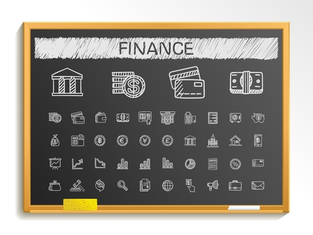 Finance hand drawing line icons. Vector doodle pictogram set: chalk sketch sign illustration on blackboard with hatch symbols: business statistics currency money payment internet register.