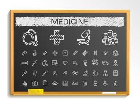 Medical hand drawing line icons. Vector doodle pictogram set: chalk sketch sign illustration on blackboard with hatch symbols: hospital emergency doctor nurse pharmacy medicine health care. Illustration