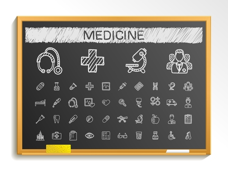 Medical hand drawing line icons. Vector doodle pictogram set: chalk sketch sign illustration on blackboard with hatch symbols: hospital emergency doctor nurse pharmacy medicine health care. Illustration