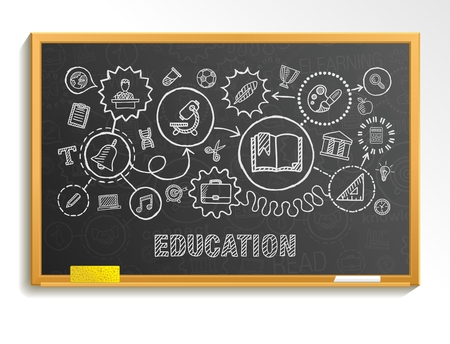 Education hand draw integrated icons set on school board. Vector sketch infographic circle illustration. Connected doodle pictograms: social elearn learning media knowledge interactive concepts Illustration