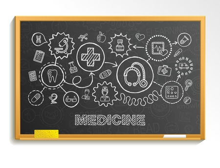 child care: Medical hand draw integrate icon set on school board. Vector sketch infographic illustration. Connected doodle pictogram: healthcare doctor medicine science emergency pharmacy interactive concept