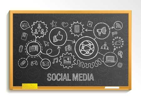 Social part des médias dessiner intégrer icônes fixés à bord de l'école. Vecteur esquisse illustration infographie. Connected doodle pictogramme: Internet réseau de médias de marketing numérique concept interactif mondial