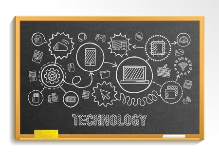 comunicar: Tecnología mano empate integrar iconos establecidos en la junta escolar. Vector el bosquejo infografía ilustración. Pictogramas del doodle Conectado: media mercado digital de internet red informática concepto interactivo