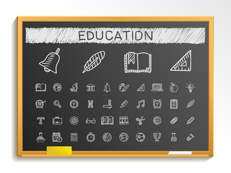 blackboard background: Education hand drawing line icons. Vector doodle pictogram set: chalk sketch sign illustration on blackboard with hatch symbols: school elearning knowledge learn subjects teaching college.