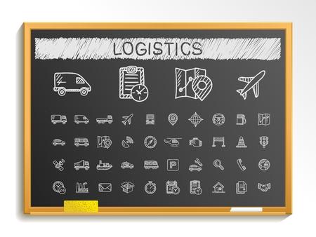 Logistic hand drawing line icons. Vector doodle pictogram set: chalk sketch sign illustration on blackboard with hatch symbols: ship truck mobile transport shipping. 일러스트