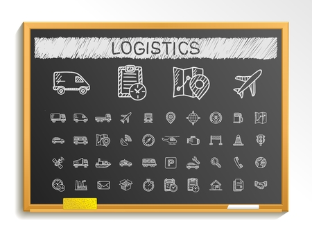 Logistic hand drawing line icons. Vector doodle pictogram set: chalk sketch sign illustration on blackboard with hatch symbols: ship truck mobile transport shipping. Illustration