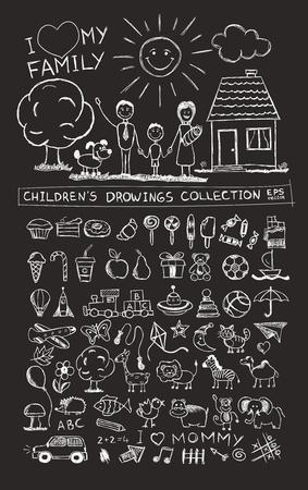 Kinderhandzeichnung Illustration der glückliche Familie mit Kindern in der Nähe von zu Hause Sonnen Hund. Schultafel Skizze Bild der Kinder Bleistiftmalerei Vektor-Doodles gesetzt: Süßigkeiten Lutscher Essen Baby-Spielzeug Tiere