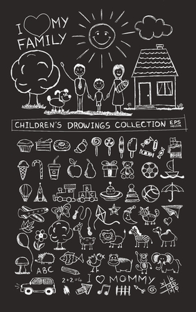 Child hand drawing illustration of happy family with kids near home sun dog. School blackboard sketch image of children pencil painting vector doodles set: sweets lollipop food baby toys animals
