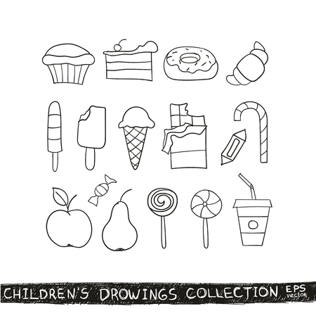 confection: Kid hand drawing tasty food collection. Line sketch illustration of child vector doodles set: muffin cake pie donut croissant confection candy lollipop ice cream chocolate apple pear d
