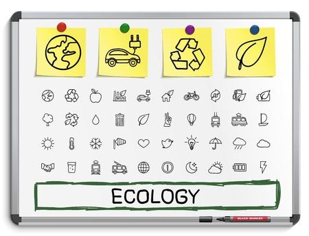 lijntekening: Ecologie hand tekenen lijn pictogrammen. Vector doodle pictogram set: schets teken illustratie op wit seinbord met papieren stickers energie eco vriendelijke omgeving boom groene recycle bio schoon Stock Illustratie