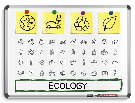 drawing board: Ecology hand drawing line icons. Vector doodle pictogram set: sketch sign illustration on white marker board with paper stickers energy eco friendly environment tree green recycle bio clean