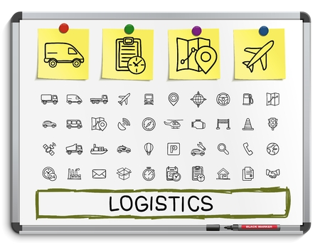drawing board: Logistic hand drawing line icons. Vector doodle pictogram set: sketch sign illustration on white marker board with paper stickers ship truck mobile transport shipping. Illustration