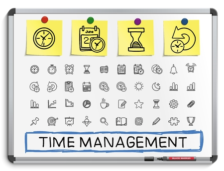 Time management hand drawing line icons. Vector doodle pictogram set: sketch sign illustration on white marker board with paper stickers: schedule alarm event calendar graphic plan date bell.