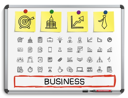 presentation board: Business hand drawing line icons. Vector doodle pictogram set: sketch illustration on white marker board with paper stickers: finance money presentation strategy marketing analytics infographic.