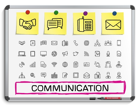 envelope: Communication hand drawing line icons. Vector doodle pictogram set: sketch sign illustration on white marker board with paper stickers: business social internet mail chat meeting speech hand. Illustration