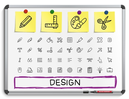 drawing board: Design tools hand drawing line icons. Vector doodle pictogram set: sketch sign illustration on white marker board with paper stickers: palette magic brush pencil pipette bucket clip grid bold.