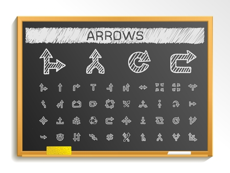 blackboard background: Arrows hand drawing line icons. Vector doodle pictogram set: chalk sketch sign illustration on blackboard with hatch symbols: right left move join cursor interface switch merge turn.